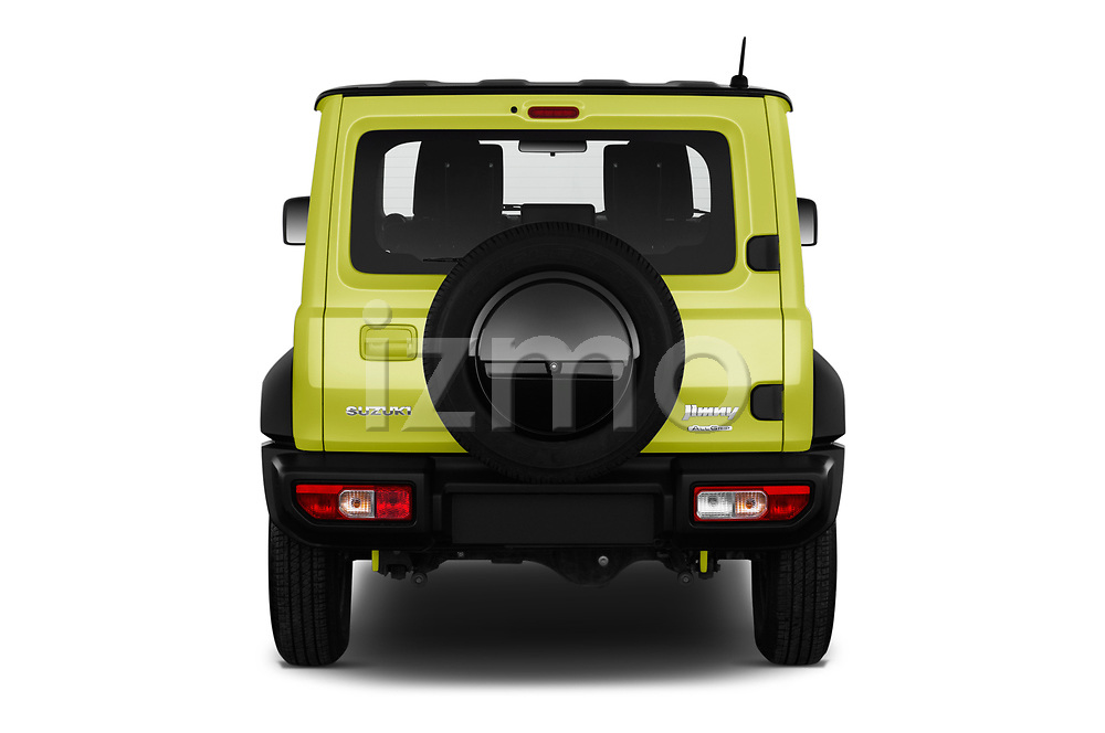Straight rear view of 2019 Suzuki Jimny GLX 5 Door SUV Rear View  stock images