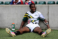 Carlin Isles of San Francisco Golden Gate rests between games during the World Club 7s at Twickenham on Sunday 18th August 2013 (Photo by Rob Munro)