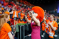 The Hague, The Netherlands, Februari 8, 2020,    Sportcampus, FedCup  Netherlands -  Balarus, Love dancing with fans<br /> Photo: Tennisimages/Henk Koster