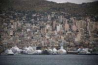 The Perama area where Border Control vessel HMC Valiant is located in Piraeus, Greece. Thursday 03 January 2019