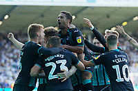 LEEDS, ENGLAND - AUGUST 31: Wayne Routledge of Swansea City celebrates his goal with team mates during the Sky Bet Championship match between Leeds United and Swansea City at Elland Road on August 31, 2019 in Leeds, England. (Photo by Athena Pictures/Getty Images)