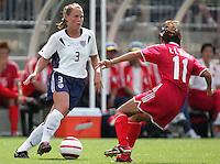 Christie Rampone, left, Bai Lili, right, USA vs China, 2004.