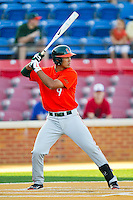 Harold Martinez #9 of the Miami Hurricanes at bat against the Wake Forest Demon Deacons at Gene Hooks Field on March 19, 2011 in Winston-Salem, North Carolina.  Photo by Brian Westerholt / Four Seam Images