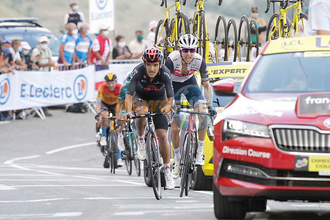 Richard Carapaz (ECU) Team Ineos Grenadiers and Bauke Mollema (NED) Trek-Segafredo climb the Col de Peyresourde in front during Stage 8 of Tour de France 2020, running 141km from Cazeres-sur-Garonne to Loudenvielle, France. 5th September 2020. <br /> Picture: Colin Flockton | Cyclefile<br /> All photos usage must carry mandatory copyright credit (© Cyclefile | Colin Flockton)