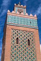 Marrakesh, Morocco.  Minaret of Moulay El Yazid Mosque.