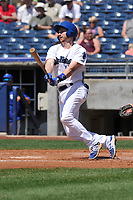 Tulsa Drillers right fielder Kyle Garlick (18) swings during a game against the Arkansas Travelers at Oneok Field on May 22, 2017 in Tulsa, Oklahoma.  Arkansas won 5-4.  (Dennis Hubbard/Four Seam Images)