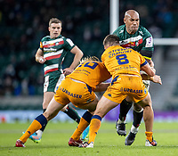 21st May 2021; Twickenham, London, England; European Rugby Challenge Cup Final, Leicester Tigers versus Montpellier; Nemani Nadolo of Leicester Tigers is tackled by Alexandre Becognee of Montpellier Rugby