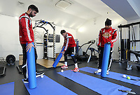 Monday 25 November 2014<br /> Pictured L-R: Jordi Amat, Angel Rangel and Jefferson Montero playing golf with gym gear <br /> Re: Swansea City FC training at the club's Fairwood Training Ground in the outskirts of Swansea, south Wales, UK.