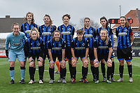 team of Club Brugge with Marie Minnaert (13) of Club Brugge   Nicky Van Den Abbeele (28) of Club Brugge   Frieke Temmerman (17) of Club Brugge   Raquel Viaene (5) of Club Brugge   Febe Vanhaecke (3) of Club Brugge   Ellen Martens (2) of Club Brugge    goalkeeper Elke geeraert (25) of Club Brugge    Celien Guns (10) of Club Brugge   Jody Vangheluwe (22) of Club Brugge   Isabelle Iliano (18) of Club Brugge   Elle Decorte (7) of Club Brugge   pictured during a female soccer game between SV Zulte - Waregem and Club Brugge YLA on the 13 th matchday of the 2020 - 2021 season of Belgian Scooore Womens Super League , saturday 6 th of February 2021  in Zulte , Belgium . PHOTO SPORTPIX.BE | SPP | DIRK VUYLSTEKE