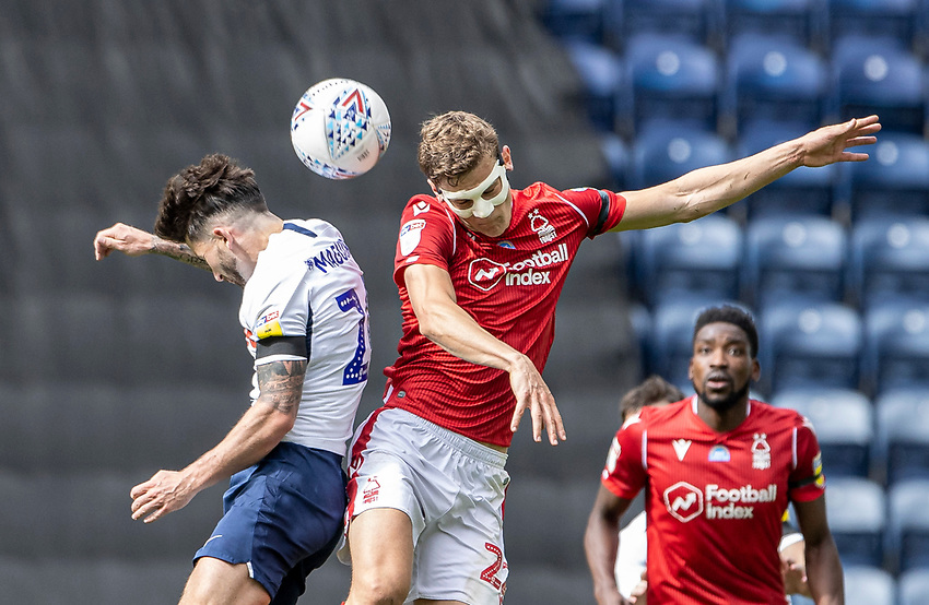 Preston North End's Sean Maguire (left) competing with Nottingham Forest's Ryan Yates <br /> <br /> Photographer Andrew Kearns/CameraSport<br /> <br /> The EFL Sky Bet Championship - Preston North End v Nottingham Forest - Saturday 11th July 2020 - Deepdale Stadium - Preston <br /> <br /> World Copyright © 2020 CameraSport. All rights reserved. 43 Linden Ave. Countesthorpe. Leicester. England. LE8 5PG - Tel: +44 (0) 116 277 4147 - admin@camerasport.com - www.camerasport.com