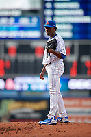 St. Lucie Mets starting pitcher Justin Dunn (19) looks in for the sign during the first game of a doubleheader against the Charlotte Stone Crabs on April 24, 2018 at First Data Field in Port St. Lucie, Florida.  St. Lucie defeated Charlotte 5-3.  (Mike Janes/Four Seam Images)