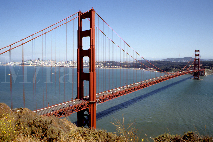 Famous Golden Gate Bridge with city of San Francisco and bay in background Californi