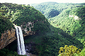 Serra do Caracol, Rio Grande do Sul, Brazil. Spectacular view of the forested canyon with a waterfall.