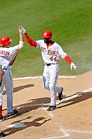 4 September 2005: Preston Wilson, outfielder for the Washington Nationals,comes home to celebrate his 22nd home-run of the season in a game against the Philadelphia Phillies. Wilson went 3 for 4, with his 3-run blast coming in the 7th inning, as the Nationals defeated the Phillies 6-1 at RFK Stadium in Washington, DC. Mandatory Photo Credit: Ed Wolfstein.