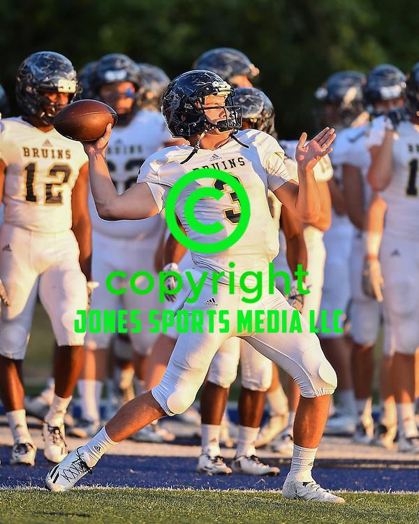Pulaski Academy quarterback Layne Hatcher during warm-ups vs Little Rock Christian Friday night at Warrior Field in Little Rock.<br /> <br /> Special to the Democrat-Gazette/JIMMY JONES