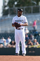 Peoria Javelinas relief pitcher Miguel Diaz (36), of the San Diego Padres organization, gets ready to deliver a pitch during the Arizona Fall League Championship game against the Salt River Rafters at Scottsdale Stadium on November 17, 2018 in Scottsdale, Arizona. Peoria defeated Salt River 3-2 in 10 innings. (Zachary Lucy/Four Seam Images)