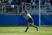 Cary, North Carolina - Sunday December 6, 2015: EJ Proctor (30) of the Duke Blue Devils throws the ball to a teammate during second half action against the Penn State Nittany Lions at the 2015 NCAA Women's College Cup at WakeMed Soccer Park.  The Nittany Lions defeated the Blue Devils 1-0.