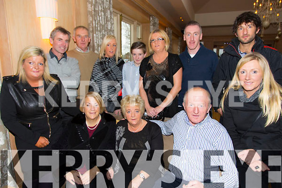 Lisa Moriarty, Patricia Moriarty, Josephine Buckley, John Moriarty, Katie Scott, Back L to R Tom O'Sullivan, John Buckley, Michelle Buckley, Cathal Moriarty, Martina Moriarty, Patrick Culloty, Sean Moriarty, from Dingle enjoying the Irish Kidney Association Christmas Party at Ballygarry House Hotel on Sunday