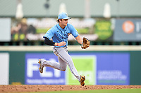 FCL Rays shortstop Tanner Murray (53) fields a ground ball during a game against the FCL Pirates Gold on July 26, 2021 at LECOM Park in Bradenton, Florida. (Mike Janes/Four Seam Images)