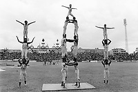 Ethiopia. Addis Ababa is the capital city and the name of a region of Ethiopia. Olympic stadium. Circus Ethiopia, a group of children, young men and women ( 30 all together), is performing its show. Human pyramids. Circus Ethiopia was legally established in 1991 with a view to introduce circus art in Ethiopia. Ever since its creation Circus Ethiopia has given new dimension to  circus art in Ethiopia but as well internationally. By blending the art with the Ethiopian traditional costume, music and dance, Circus Ethiopia with its associative approach has inspired many circuses to grow throughout Ethiopia. The symbol of the Olympic Games is composed of five interlocking rings, coloured blue, yellow, black, green, and red. They were originally designed in 1912 by Baron Pierre de Coubertin, the founder of the modern Olympic Games. © 1996  Didier Ruef