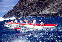 Outrigger canoe racing; Outrigger Canoe Club Men's crew, Men's Lanikai Race; Makapu'u, Oahu, Hawaii.