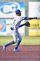 Burlington Royals shortstop Maikel Garcia (2) throws to first base during game one of the Appalachian League Championship Series against the Johnson City Cardinals at TVA Credit Union Ballpark on September 2, 2019 in Johnson City, Tennessee. The Royals defeated the Cardinals 9-2 to take the series lead 1-0. (Tony Farlow/Four Seam Images)