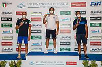 (L to R) SCOZZOLI Fabio silver, MARTINENGHI Nicolo  Gold, PINZUTI Alessandro bronze<br /> 50 Breaststroke Men podium<br /> Roma 12/08/2020 Foro Italico <br /> FIN 57 Trofeo Sette Colli - Campionati Assoluti 2020 Internazionali d'Italia<br /> Photo Giorgio Scala/DBM/Insidefoto
