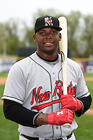 New Britain Rock Cats first baseman Kennys Vargas (35) poses for a photo before a game against the Harrisburg Senators on April 28, 2014 at Metro Bank Park in Harrisburg, Pennsylvania.  Harrisburg defeated New Britain 9-0.  (Mike Janes/Four Seam Images)
