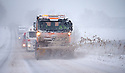 29/01/15<br /> <br /> A snow plough clears and grits the A515 at Sterndale Moor near Buxton in the Derbyshire Peak District.<br /> <br /> All Rights Reserved - F Stop Press.  www.fstoppress.com. Tel: +44 (0)1335 418629 +44(0)7765 242650