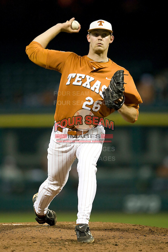 NCAA Baseball featuring the Texas Longhorns against the Missouri Tigers. Jungmann, Taylor 3664  at the 2010 Astros College Classic in Houston's Minute Maid Park on Sunday, March 7th, 2010. Photo by Andrew Woolley