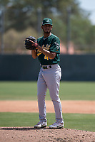 Oakland Athletics starting pitcher Angello Infante (46) prepares to deliver a pitch during an Extended Spring Training game against the San Francisco Giants Orange at the Lew Wolff Training Complex on May 29, 2018 in Mesa, Arizona. (Zachary Lucy/Four Seam Images)