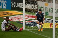 14th November 2020; Arena de Gremio, Porto Alegre, Brazil; Brazilian Serie A football league, Gremio versus Ceara; Fabinho of Ceará dejected as Pepe of Grêmio clears his goal