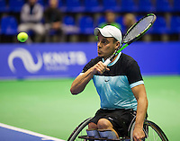 Rotterdam,Netherlands, December 15, 2015,  Topsport Centrum, Lotto NK Tennis, Wheelchair Tennis, Berry Korst (NED)<br /> Photo: Tennisimages/Henk Koster