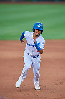 Jeremy Arocho (8) of the Ogden Raptors hustles towards third base against the Grand Junction Rockies at Lindquist Field on September 9, 2019 in Ogden, Utah. The Raptors defeated the Rockies 6-5. (Stephen Smith/Four Seam Images)