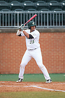Logan Sherer (25) of the Charlotte 49ers at bat against the Akron Zips at Hayes Stadium on February 22, 2015 in Charlotte, North Carolina.  The Zips defeated the 49ers 5-4.  (Brian Westerholt/Four Seam Images)
