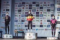 women elite podium:<br /> <br /> 1st place - Sanne Cant (BEL/Iko-Crelan)<br /> 2nd place - Lotte Kopecky (BEL/Liv Racing)<br /> 3th place - Alicia Franck (BEL/Proximus - Alphamotorhomes - Doltcini)<br /> <br /> Women's Elite Race<br /> Belgian National CX Championships<br /> Meulebeke 2021<br /> <br /> ©kramon