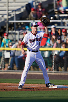 Potomac Nationals first baseman Ian Sagdal (1) catches a throw during the first game of a doubleheader against the Salem Red Sox on May 13, 2017 at G. Richard Pfitzner Stadium in Woodbridge, Virginia.  Potomac defeated Salem 6-0.  (Mike Janes/Four Seam Images)