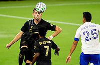 LOS ANGELES, CA - SEPTEMBER 02: Tristan Blackmon #27 of LAFC heads the ball during a game between San Jose Earthquakes and Los Angeles FC at Banc of California stadium on September 02, 2020 in Los Angeles, California.