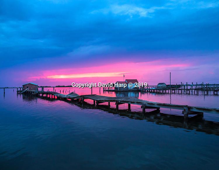 Sunset on Smith Island at the village of Tylerton,MD