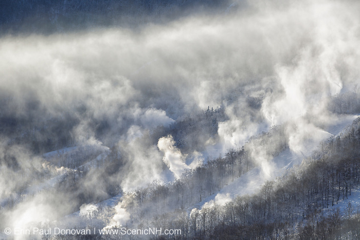 Franconia Notch State Park - Snow making at Cannon Mountains in the White Mountains, New Hampshire USA from Artists Bluff.