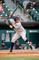 Scranton/Wilkes-Barre RailRiders third baseman Vicente Conde (21) at bat during a game against the Buffalo Bisons on May 18, 2018 at Coca-Cola Field in Buffalo, New York.  Buffalo defeated Scranton 5-1.  (Mike Janes/Four Seam Images)
