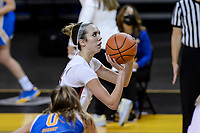 SANTA CRUZ, CA - JANUARY 22: Lacie Hull #24 takes a shot during the Stanford Cardinal women's basketball game vs the UCLA Bruins at Kaiser Arena on January 22, 2021 in Santa Cruz, California.