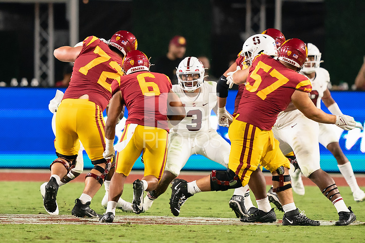 LOS ANGELES, CA - SEPTEMBER 11: Levani Damuni during a game between University of Southern California and Stanford Football at Los Angeles Memorial Coliseum on September 11, 2021 in Los Angeles, California.