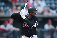 Luis Robert (19) of the Winston-Salem Warthogs at bat against the Jersey Shore BlueClaws at Truist Stadium on July 21, 2021 in Winston-Salem, North Carolina. (Brian Westerholt/Four Seam Images)