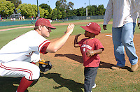 6 May 2006: Chris Lewis and Jeffrey Hammonds's son during Stanford's 5-1 loss against California Golden Bears at Sunken Diamond in Stanford, CA. Stanford Baseball announced its All-Time Starting 9 during a pre-game ceremony. The nine players selected for the team, chosen by the fans, represent the best of the first 30 years of the distinguished career of the head coach.