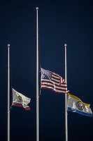 SAN JOSE, CA - SEPTEMBER 19: Flags at half staff before a game between Portland Timbers and San Jose Earthquakes at Earthquakes Stadium on September 19, 2020 in San Jose, California.