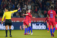 CARSON, CA - FEBRUARY 7: Christen Press #20 of the United States celebrates scoring with teammate Rose Lavelle #16 during a game between Mexico and USWNT at Dignity Health Sports Park on February 7, 2020 in Carson, California.