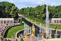 Golden statues and fountains. Peterhof, Russia.