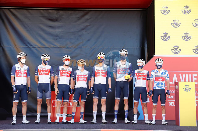 Trek-Segafredo best team from yesterday's stage at sign on before Stage 3 of La Vuelta d'Espana 2021, running 202.8km from Santo Domingo de Silos to Picon Blanco, Spain. 16th August 2021.    <br /> Picture: Luis Angel Gomez/Photogomezsport | Cyclefile<br /> <br /> All photos usage must carry mandatory copyright credit (© Cyclefile | Luis Angel Gomez/Photogomezsport)