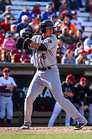 Quad Cities River Bandits first baseman Taylor Jones (46) at bat during a Midwest League game against the Wisconsin Timber Rattlers on April 8, 2017 at Fox Cities Stadium in Appleton, Wisconsin.  Wisconsin defeated Quad Cities 3-2. (Brad Krause/Four Seam Images)